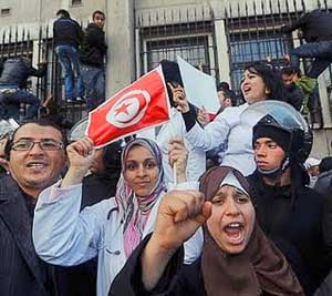 Protesters in Tunisia.