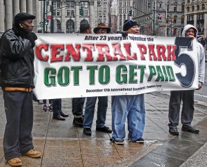 Feb. 19 protest after Central Park 5 court session, organized by the Dec. 12 Movement and the Freedom Party.WW photo: Anne Pruden