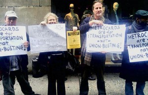 Some of the protesters outside the MTA meeting, Jan. 30.