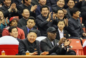 Kim Jong Un and Dennis Rodman watch an exhibition basketball game at an arena in Pyongyang.