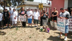 Family and friends of Ernest Duenez Jr. gathered at the site where Ernest was killed by Manteca police officer John Moody.WW photo: Gloria Verdieu