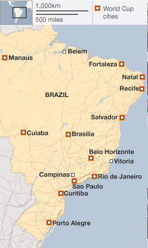 Brazil makes up almost half of South America in area and population, now nearly 200 million. Brazilians demonstrated in cities all over this vast country.