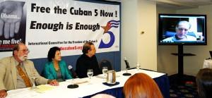René González speaks via Skype at May 30 press conference in Washington, D.C.WW photo: Berta Joubert-Ceci