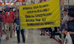 Protesters swarm Target store, June 13.WW photo: G. Dunkel
