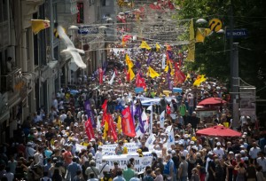 Union workers march into Taksim Square during a strike in support of the protests, Istanbul, June 4.