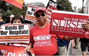Brooklyn hospital workers from LICH and Interfaith at protest in Manhattan against St. Vincent's Hospital being turned into ultra-high priced condos.WW photo: Anne Pruden