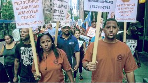 Chicago unionists join Detroit activists to protest the banks.WW photo: Abayomi Azikiwe