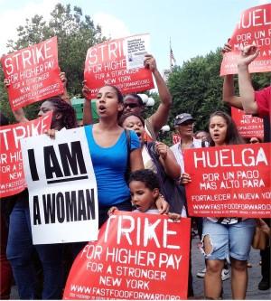 Fast food workers on one-day strike, New York, July 29.WW photo: Teresa Gutierrez