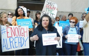 Protesters at New York City's federal building Oct. 2 especially denounce how the shutdown affects women.WW photo: Anne Pruden