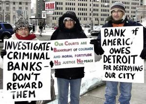 Detroit protesters outside of court Dec. 17.WW photo: Bryan G. Pfeifer