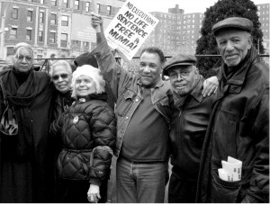 Left to right: Amina Baraka, Iyaluua Ferguson, Suzanne Ross, Larry Holmes, Amiri Baraka and Herman Ferguson demand freedom for Mumia Abu-Jamal, Harlem, 2008.WW photo: Anne Pruden
