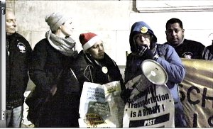 School bus parents and unionists rally outside Education Department on Dec. 17.Photo: PIST NYC Facebook