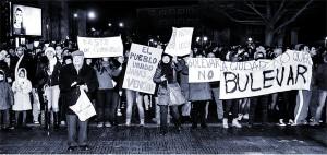 Gamonal residents demand prisoners be freed. Burgos, Spain.