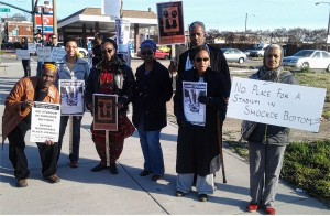 Community protests plans to build baseball stadium at site of former slave jail.Photo: The Virginia Defender