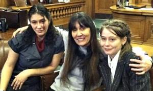 Lisa Leggio, Vicci Hamlin and Barb Carter in courtroom.Photo: Jeph Farr