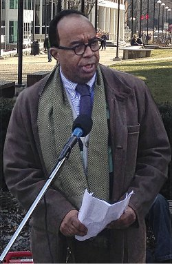 Dr. Tony Monteiro at March 10 rally.WW photo: Scott Williams