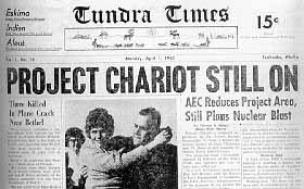 A 1945 newspaper covers Project Chariot.