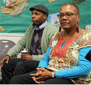 "Lamont Lilly & Monica Moorehead lead ""What is a revolutionary"" discussion on March 29.WW photo: Durham WWP branch"