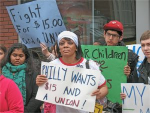 April 3 protest at McDonald's restaurant in Philadelphia.WW photo: Joseph Piette