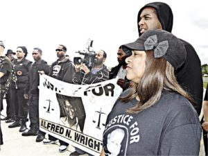 Supporters, including Alfred's mother Rosalind Wright, demand justice for Alfred Wright, Houston, Texas.