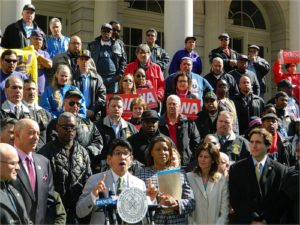 April 4 press conference for fired UPS workers.WW photo: Anne Pruden