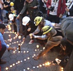 New York City vigil for Turkey's miners, May 18.WW photo: Bill Dores