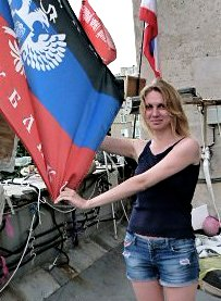 Borotba activist Maria Matyushenko on a recent visit to the Donetsk People's Republic.Photo: Borotba