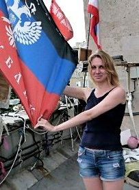 Borotba activist Maria Matyushenko on a recent visit to the Donetsk People's Republic.Photo: Borotba