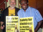 Bus driver union leaders Steve Kirschbaum and Andre Francois, June 2.Photo: Howard Rotman