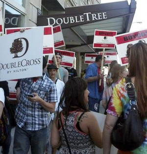 Protesters target Doubletree, June 7.WW photo: Kris Hamel