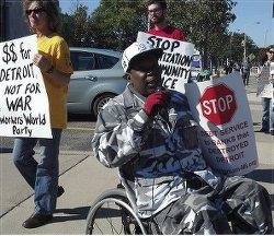 Jerome Jackson speaks out against Detroit's bankruptcy, Sept. 27.WW photo: Kris Hamel