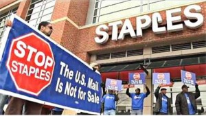 Postal workers at Atlanta Staples store.Photo: APWU