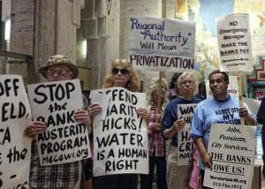 Detroiters protest inside Bank of America, June 13.WW photo: Kris Hamel