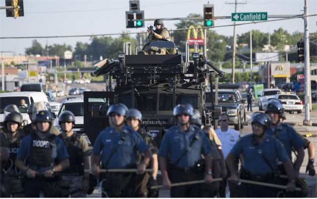 Ferguson, Mo. under militray occupation and martial law after police killing of Michael Brown.