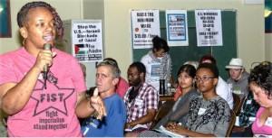 UNITE HERE Local 7 member Sara Benjamin at socialist conference, Sept. 13.WW photo: Joseph Piette