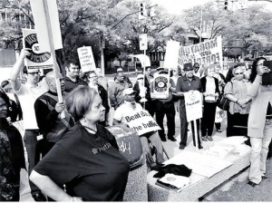 These housing activists went inside to tell Mel Watt: 'Bail out people, not banks!'WW photo: Abayomi Azikiwe