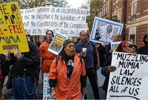 Pam Africa leads march. WW photo: Joseph Piette