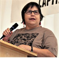 Talk by Teresa Gutierrez to the 2014 Workers World Party National Conference in New York City.WW photo: G. Dunkel