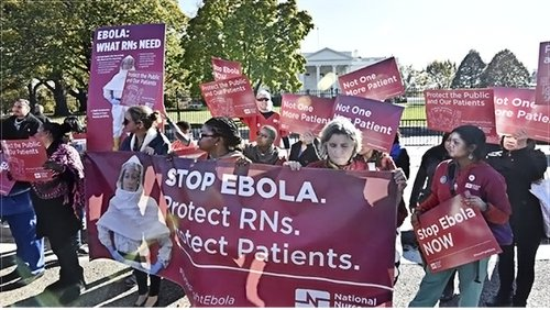 Nurses at White House during national strike for health and safety.
