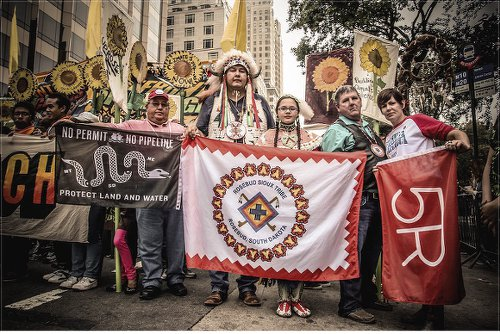 Rosebud Sioux rally at Sept. 21 Climate Change march in NYC.WW photo