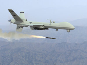 U.S. drone firing missile.