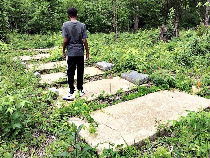 Historic African-American New Hope cemetery, sacred space threatened by for-profit coal ash landfill in Uniontown, Alabama.