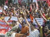 In a show of their strength, members of the All India Trade Union Congress protest in Bangladore, December 2012.