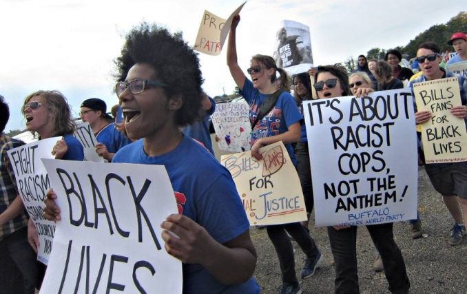 Kaepernick supporters come out in Buffalo,N.Y., Oct. 16.