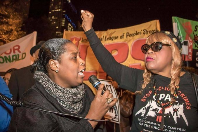 Demanding justice for Laquan McDonald on the second anniversary of his murder by Chicago police.
