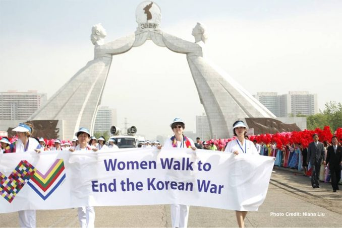 Women cross the DMZ in 2015.