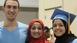 Deah Shaddy Barakat, 23; his spouse of two months, Yusor Mohammad Abu-Salha, 21; and her sister, Razan Mohammad Abu-Salha, 19, all Palestinian.