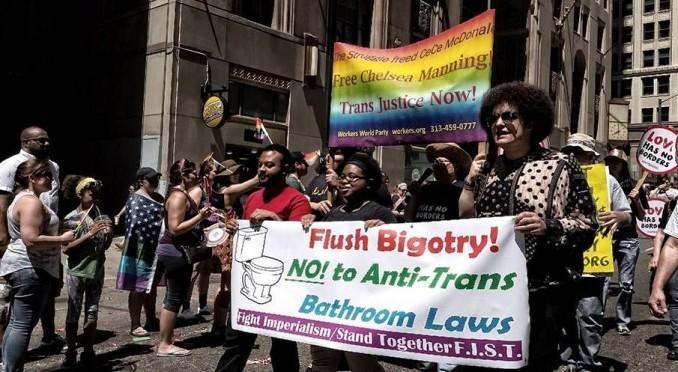 Demanding bathroom justice at Detroit Pride parade, June 12.