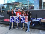 Rank-and-file strikers and supporters picket GM World Headquarters in downtown Detroit Oct. 9.
