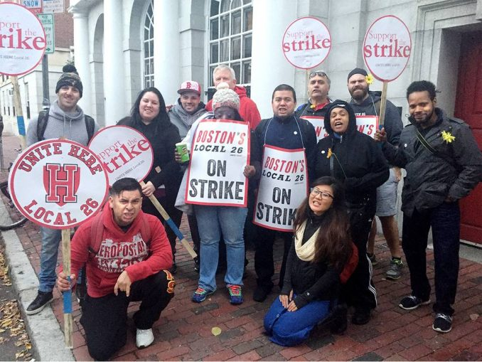 Dining hall workers on militant strike against Harvard Corporation.